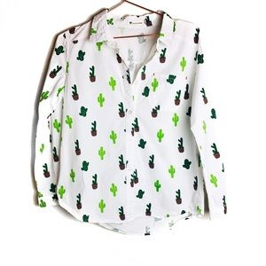 EUC Live As You Dream Cactus Button Down Shirt L